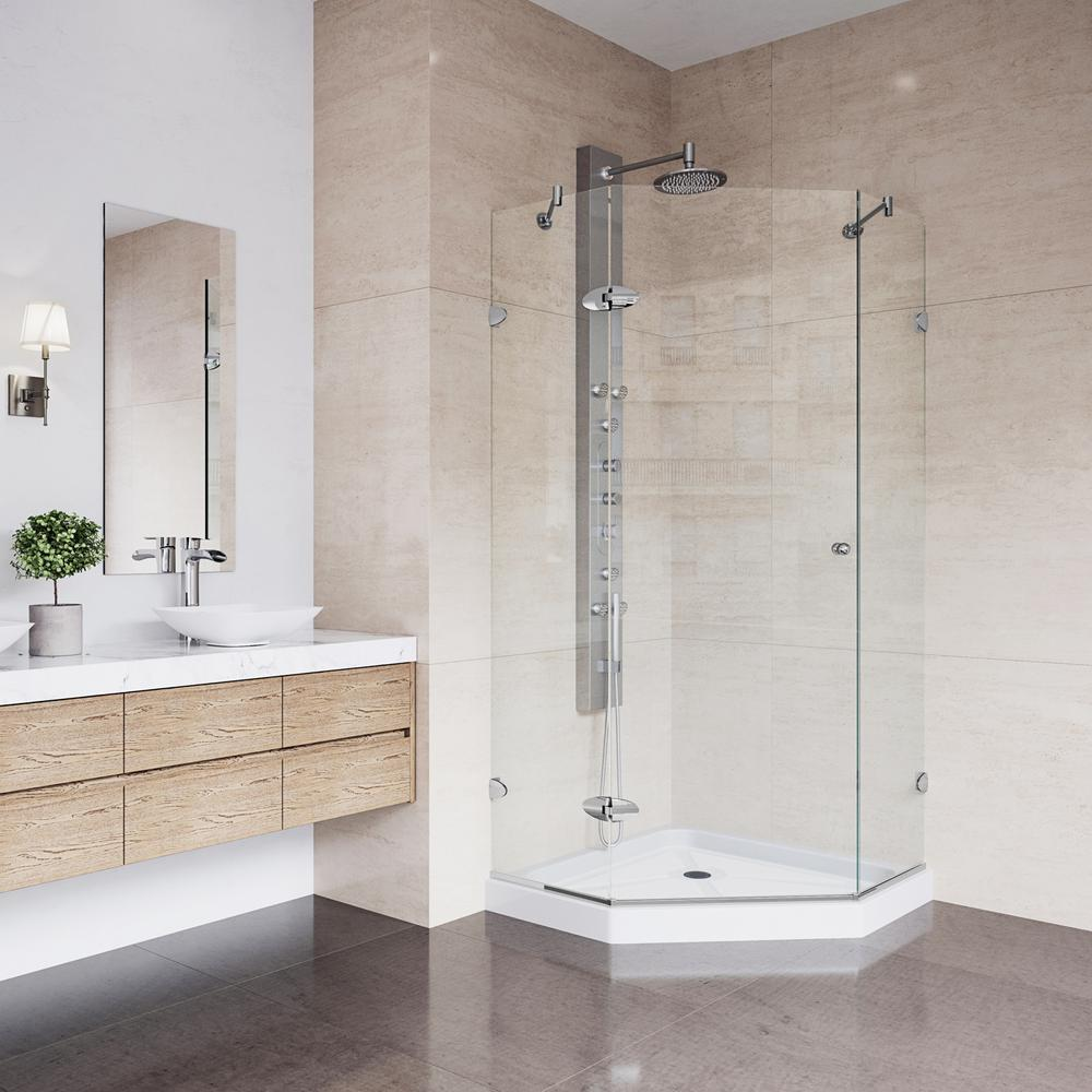 Vigo Verona 4025 In X 7675 In Frameless Neo Angle Shower Door In
