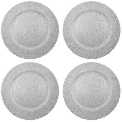 Home Essentials & Beyond 13 in. 4-Piece Twinkle Silver Plate Charger Set