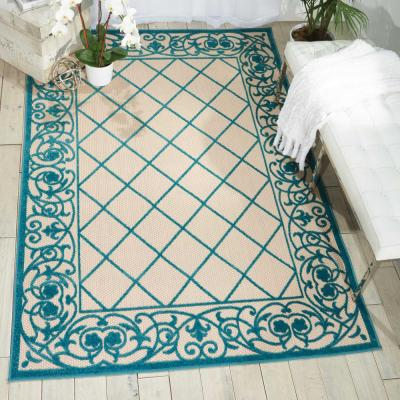 Aloha Aqua 4 ft. x 6 ft. Indoor/Outdoor Area Rug
