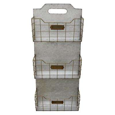 12 in. x 4 in. x 28 in. Storage Wall Rack Galvanize in Gray