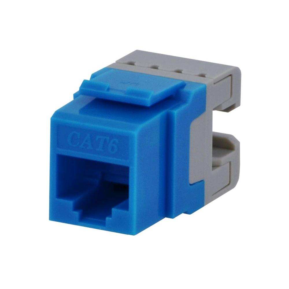 Category 6 Jack - Blue Commercial Electric's Category 6 jacks are used to terminate Category 6 23AWG network cable. Use these jacks for Ethernet, internet, phone, fax, and modem and computer networks. These keystone jacks snap into any housing or keystone wall plates.