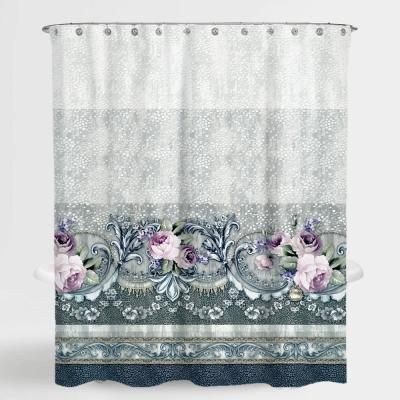 72 in. x 72 in. Floral Multi Rosa Water Repellent Shower