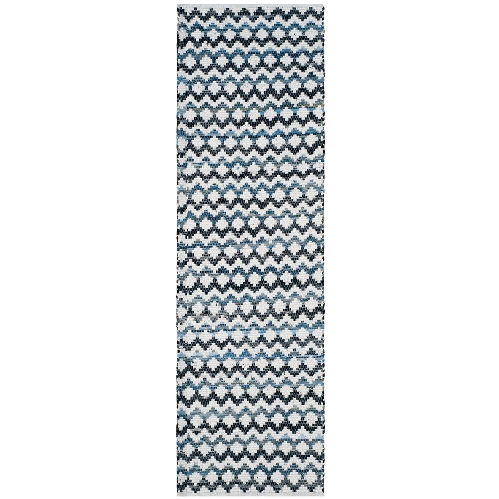 Montauk Ivory Blue/Black 2 ft. 3 in. x 6 ft. Runner