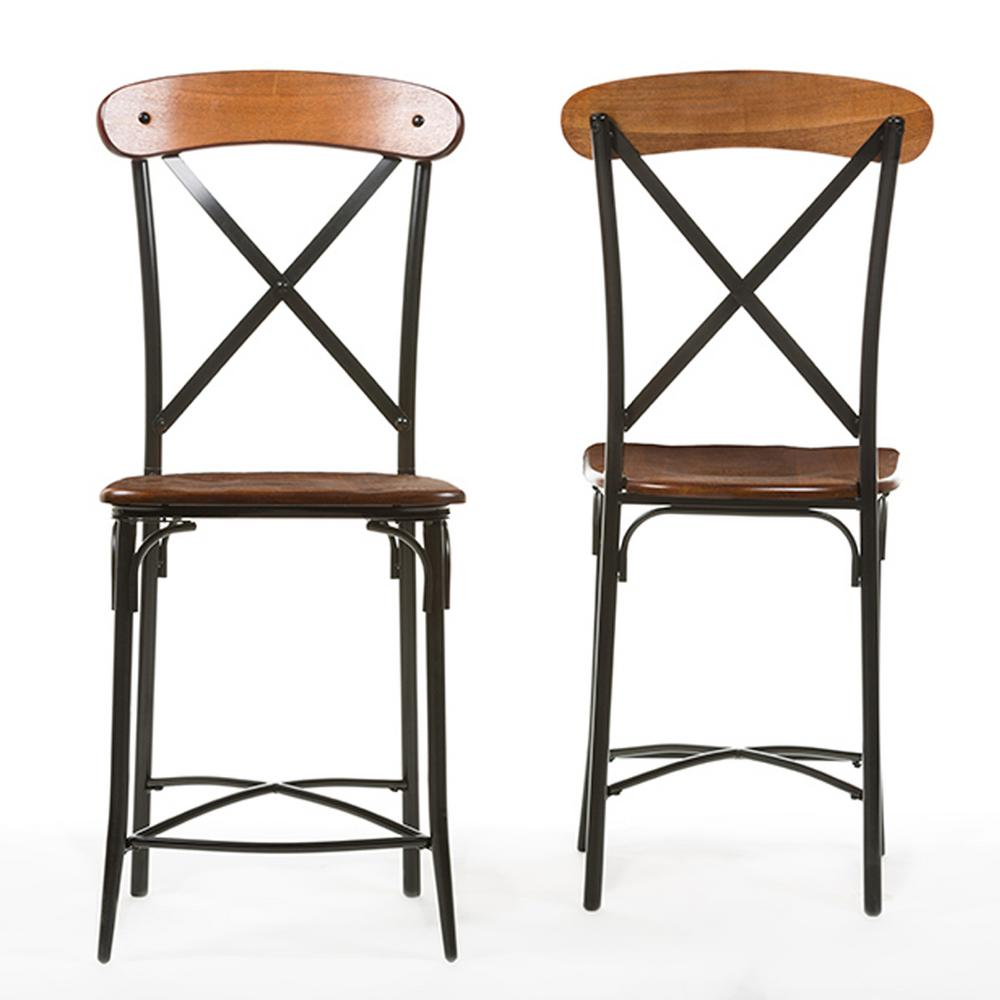 Baxton Studio Broxburn Light Brown Wood and Metal 2-Piece Counter Stool Set