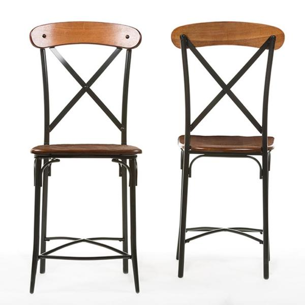 Baxton Studio Broxburn Light Brown Wood and Metal 2-Piece Counter Stool