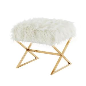 Super Inspired Home Elora White Gold Upholstered X Leg Faux Fur Theyellowbook Wood Chair Design Ideas Theyellowbookinfo