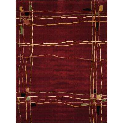 Parallels Red 3 ft. 6 in. x 5 ft. 6 in. Area Rug