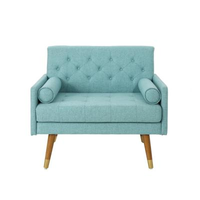 Eugene Mid-Century Modern Tufted Blue Fabric Club Chair