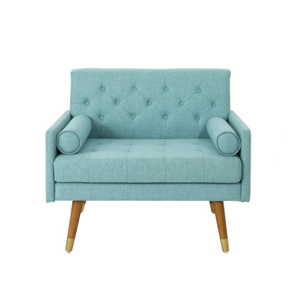 Noble House Eugene Mid-Century Modern Tufted Blue Fabric Club Chair 53051