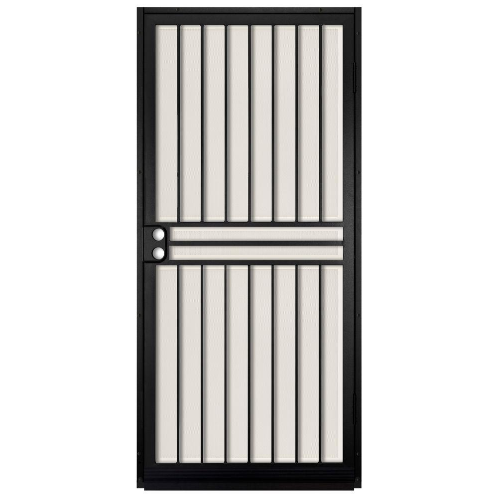 Unique Home Designs 36 in. x 80 in. Guardian Black Surface Mount Outswing Steel Security Door with Almond Perforated Aluminum Screen