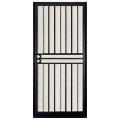 36 in. x 80 in. Guardian Black Surface Mount Outswing Steel Security Door with Almond Perforated Aluminum Screen