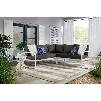 West Park White Aluminum Outdoor Patio Sectional Sofa Seating Set with CushionGuard Graphite Dark Gray Cushions