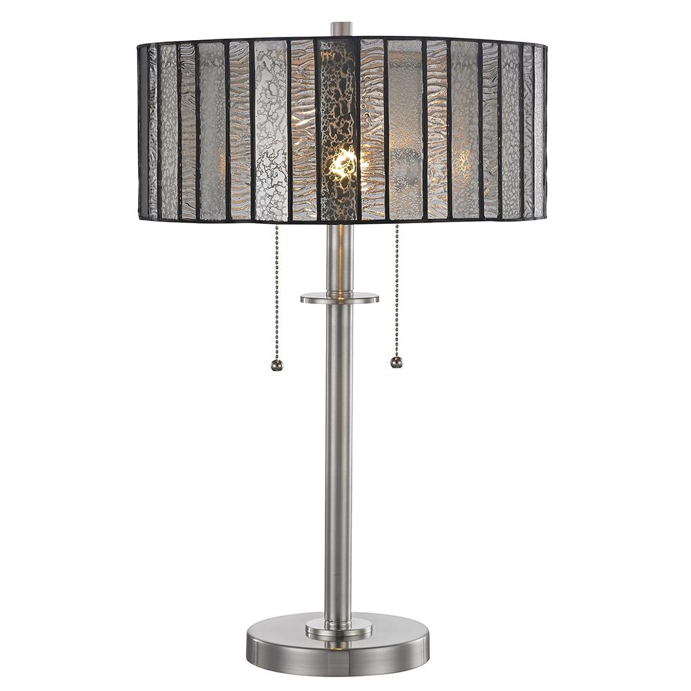 Springdale Ligthing Vincel 23.25 In. Brushed Nickel Table Lamp With Hand  Rolled Art Glass Shade