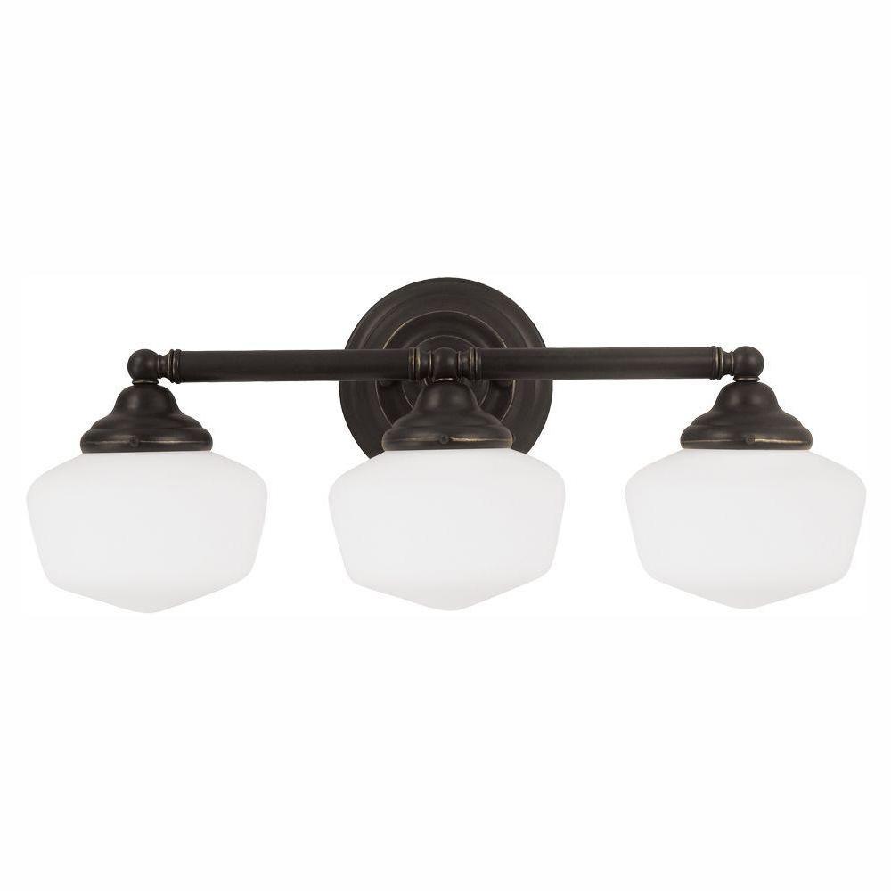 Sea Gull Lighting Academy 3-Light Heirloom Bronze Wall/Bath Light with LED Bulbs