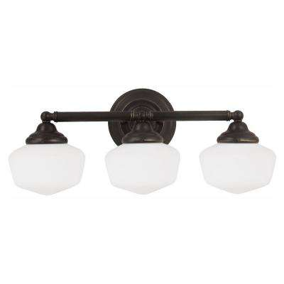 Academy 3-Light Heirloom Bronze Wall/Bath Light with LED Bulbs