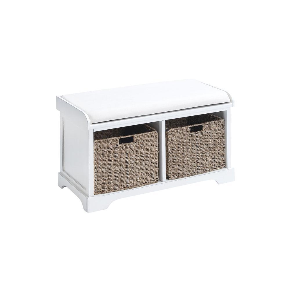 Antique White 2-Drawer Cushioned Storage Bench