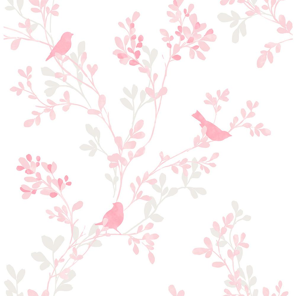 Brewster Chirp Pink Birds And Trees Wallpaper