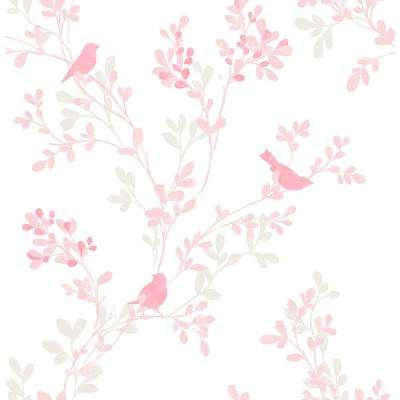 Chirp Pink Birds and Trees Wallpaper