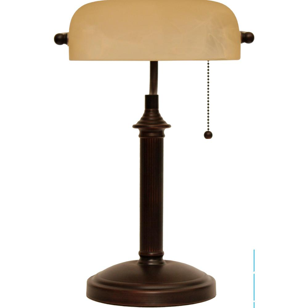 pretty nice c04e5 070ff Hampton Bay 15 in. Oil Rubbed Bronze Bankers Lamp with Pull Chain
