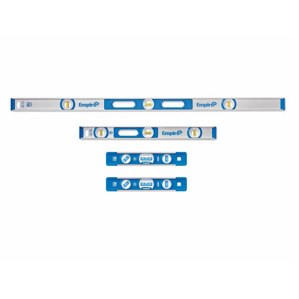 48 in. Aluminum I-Beam Level and 24 in. Aluminum I-Beam Level Set W/ 9 in. Magnetic Torpedo Level (4-Pack)