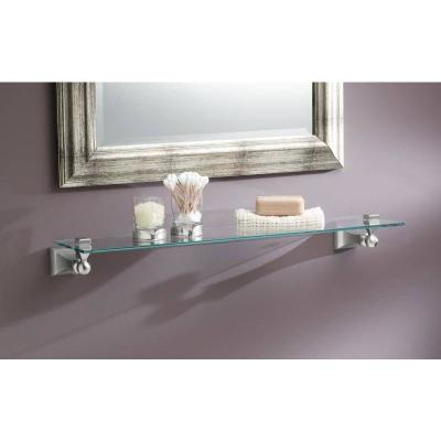 Retreat 5-9/10 in. L x 2-16/25 in. H x 22 in. W Wall-Mount Clear Glass Shelf in Brushed Nickel