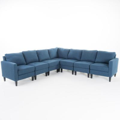 7-Piece Dark Blue Polyester 6-Seater L-Shaped Sectional Sofa with Wood Legs