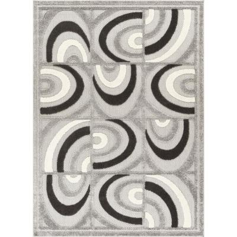 Dorado Lucente 7 ft. 10 in. x 9 ft. 10 in. Modern Abstract Tile Work Grey High-Low Indoor/Outdoor Area Rug