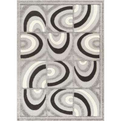 Dorado Lucente 7 ft. 10 in. x 9 ft. 10 in. Modern Abstract Tile Work Grey High-Low Indoor/Outdoor Area Rug