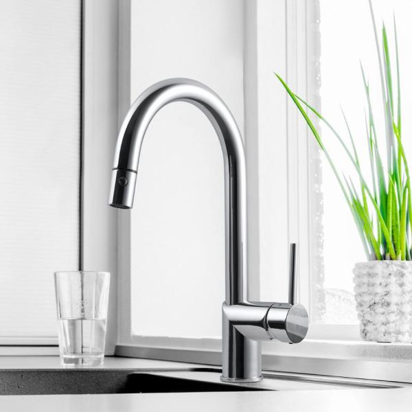 Houzer Sentinel Sentinel Single Handle Pull Down Sprayer Kitchen Faucet With Hot Water Safety Switch In Oil Rubbed Bronze Senpd 466 Ob The Home Depot