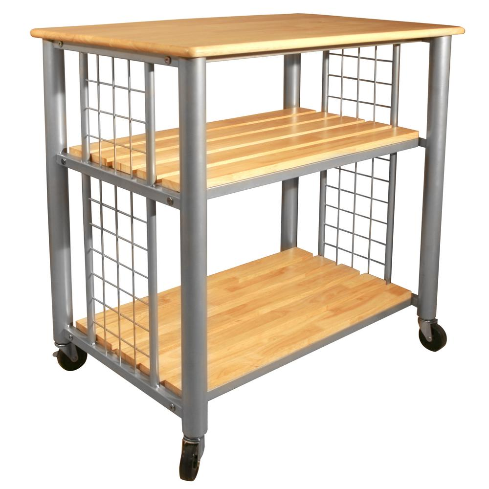 Catskill Craftsmen Contemporary Natural Kitchen Cart With Shelf