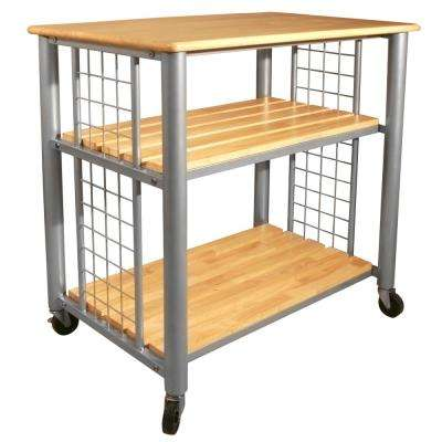 Contemporary Natural Kitchen Cart With Shelf