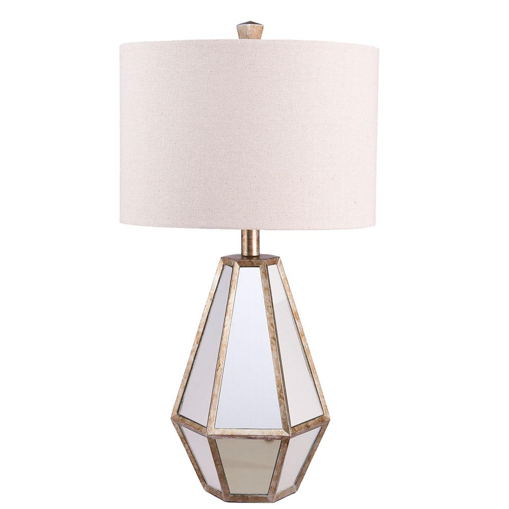 Catalina Lighting 25.75 In. Antique Silver Faceted Mirrored Table Lamp With  Linen Shade And LED
