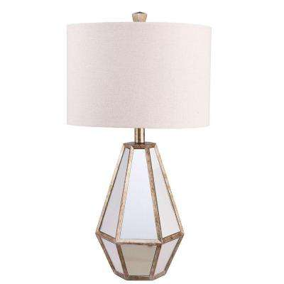 25.75 in. Antique Silver Faceted Mirrored Table Lamp with Linen Shade and LED Bulb Included