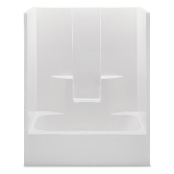 Everyday 60 in. x 32 in. x 72 in. 1-Piece Bath and Shower Kit with Left Drain in White