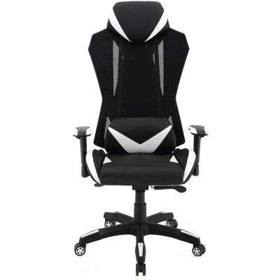 Commando Ergonomic Black and White High-Back Gaming Chair with Adjustable Gas Lift Seating and Lumbar Support