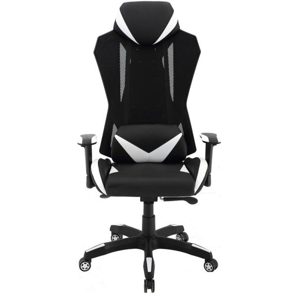 Hanover Commando Ergonomic Black and White High-Back Gaming Chair with