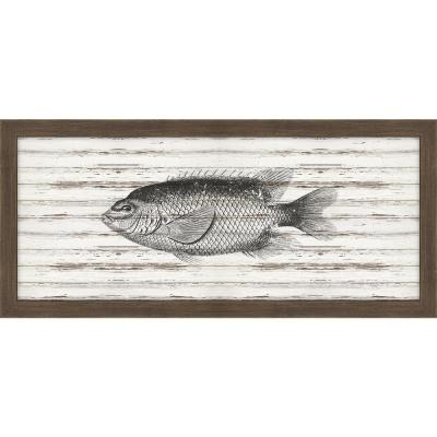 """22 in. x 10 in. """"Sunfish on Driftwood"""" Framed Giclee Print Wall Art"""