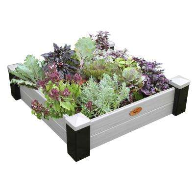 36 in. x 36 in. x 10 in. Maintenance Free Vinyl Raised Garden Bed