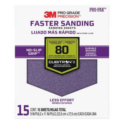 Pro Grade Precision 9 in. x 11 in. 80 Grit Coarse Advanced Sanding Sheets (15-Pack)
