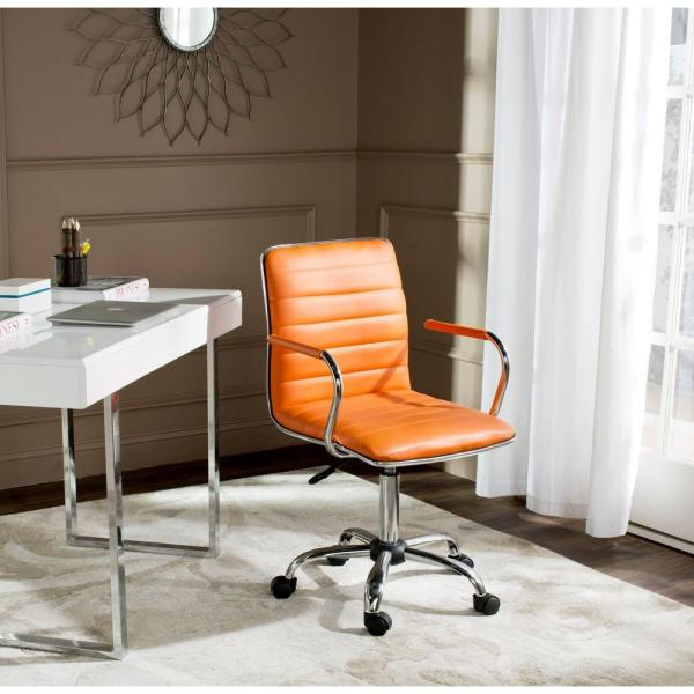 Safavieh Jonika Orange Leather Office Chair Fox7520d The Home Depot