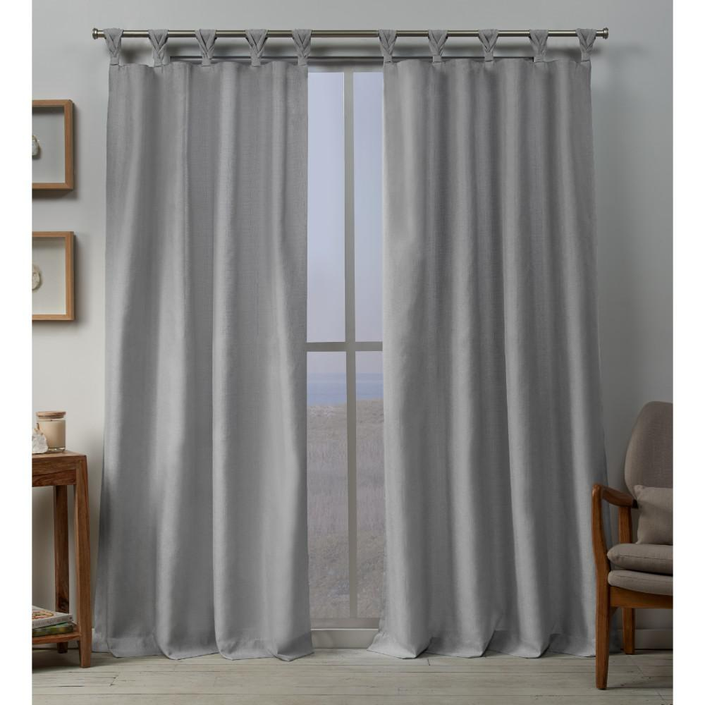 L Linen Blend Braided Tab Top Curtain Panel In Dove Gray 2 Panels