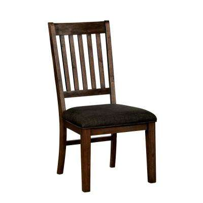 Collin Walnut Fabric Slat Side Chair (Set of 2)