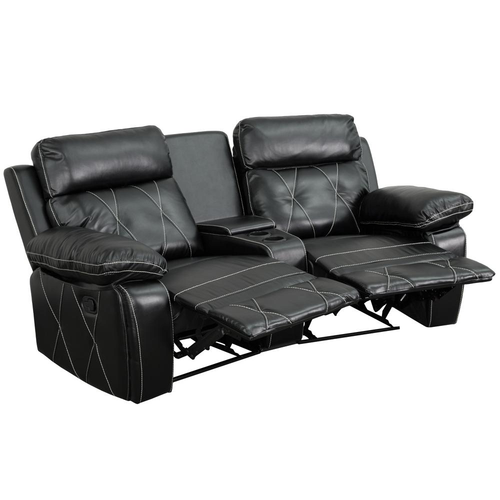 Reel Comfort Series 2-Seat Reclining Black Leather Theater Seating Unit with