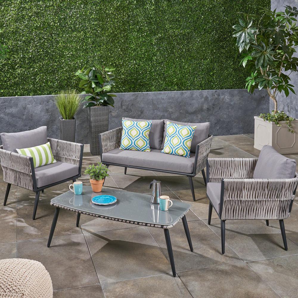 Noble House Oceanus Black Aluminum and Light Gray Wicker 4-Piece Patio Conversation Set with Dark Gray Cushions