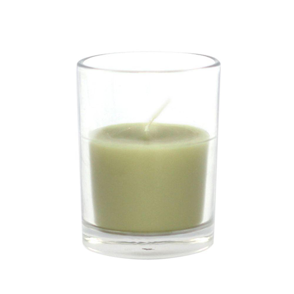 2 in. Sage Green Round Glass Votive Candles (12-Box), Greens