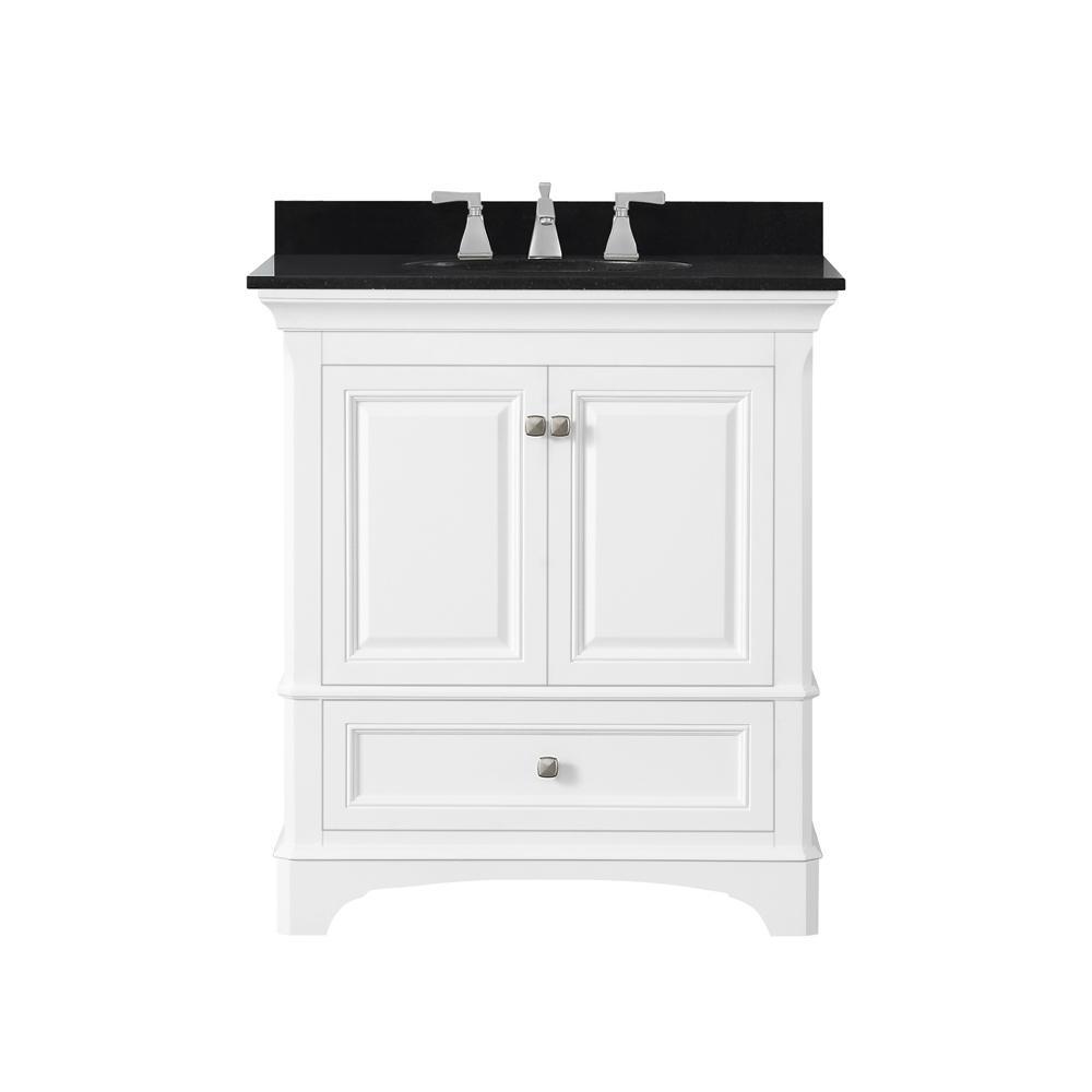 Moorpark 31 in. W Bath Vanity in White with Granite Vanity Top in Black with White Basin