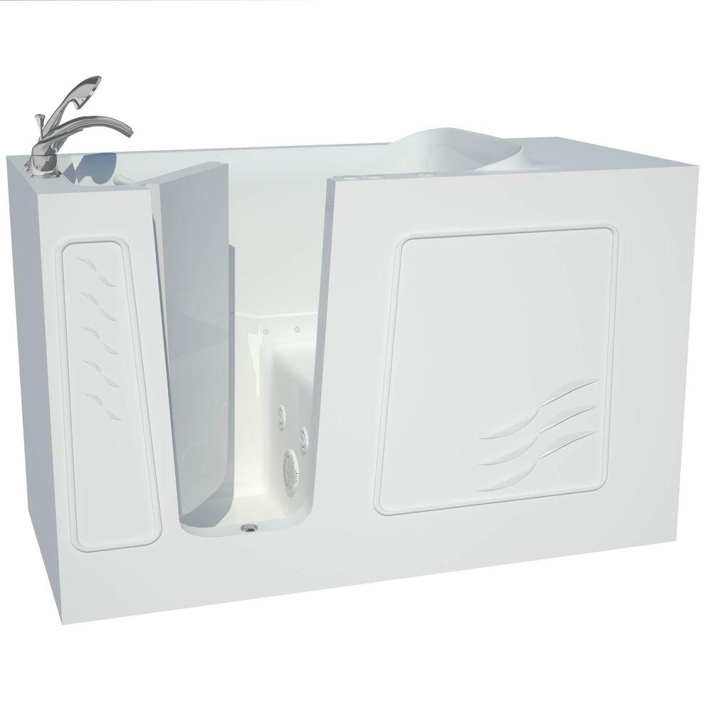 Universal Tubs Contractor Series 5 ft. Left Drain Walk-In Whirlpool and Whirlpool Air Bath Tub in White