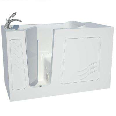 Builder's Choice 60 in. Left Drain Quick Fill Walk-In Whirlpool and Air Bath Tub in White