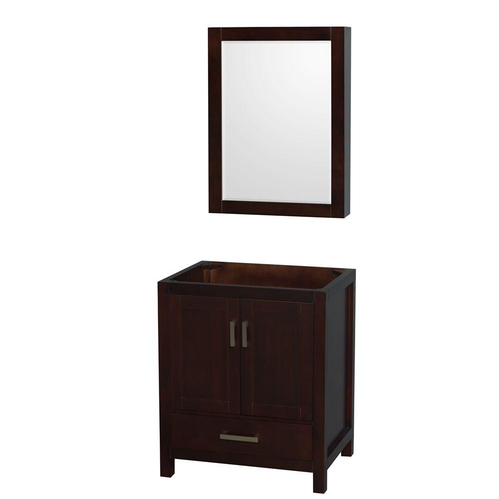 Wyndham Collection Sheffield 30 In. Vanity Cabinet With Medicine Cabinet  Mirror In Espresso