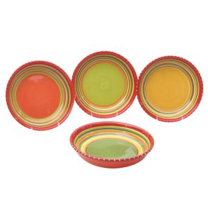 Certified International Hot Tamale 9.5 inch Multi-Colored Soup and Pasta Bowl (Set of 4) by Certified International